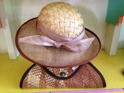 woven crown hat with sinamay brim