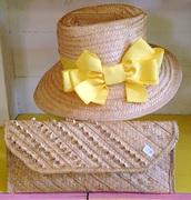 Straw braid/plait wide brim fedora hat
