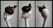 Black and gold wool cocktail hat