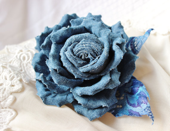 Denim rose with lacy leaves