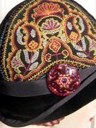 Embroidered Cloche w/ Czech Glass Button