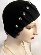 1920's Pleated Cloche with vintage buttons
