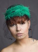 emerald green veiled hat