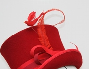 Red Top Hat Women Millinery  Midi