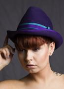 Purple Trilby Brimmed Hat Deco Fur Felt Wide Brim Hand Blocked Luxury Millinery Women
