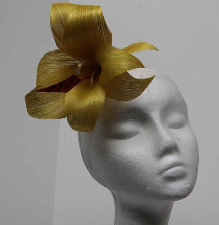 Yellow Hat Gold Fascinator Headpiece Hand Blocked Luxury Millinery Women Bridal Wedding Silk Abaca
