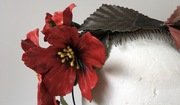 Red leather flowers headpiece