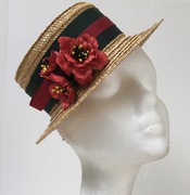 Vintage straw, Percher boater, leather flowers