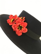 Black boater red leather flowers