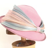 Rose Pink Hat Deco Brim Hand Blocked Luxury Millinery Women ms Lemon