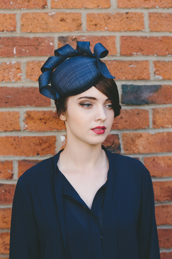 Navy Sinamay Button with Curl