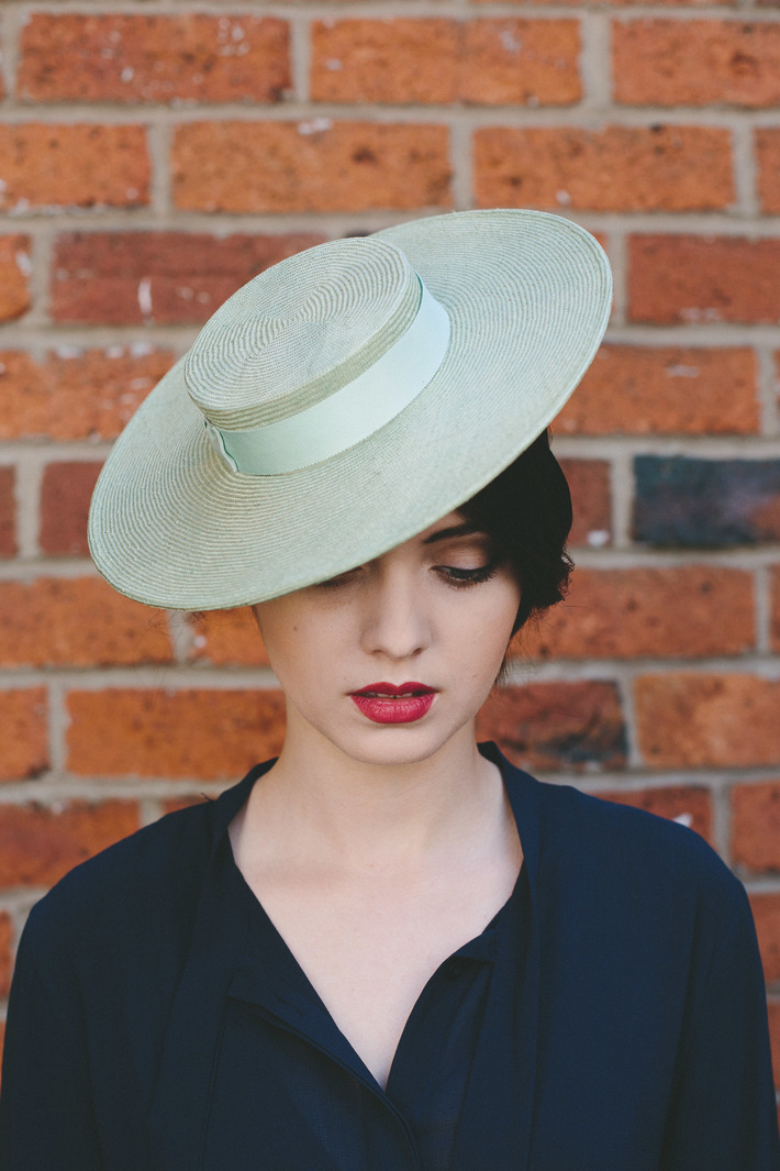 Green Straw Boater with Petersham Trim