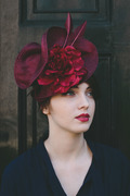 Burgundy Straw Headpiece with Silk Rose and Arrow Feathers