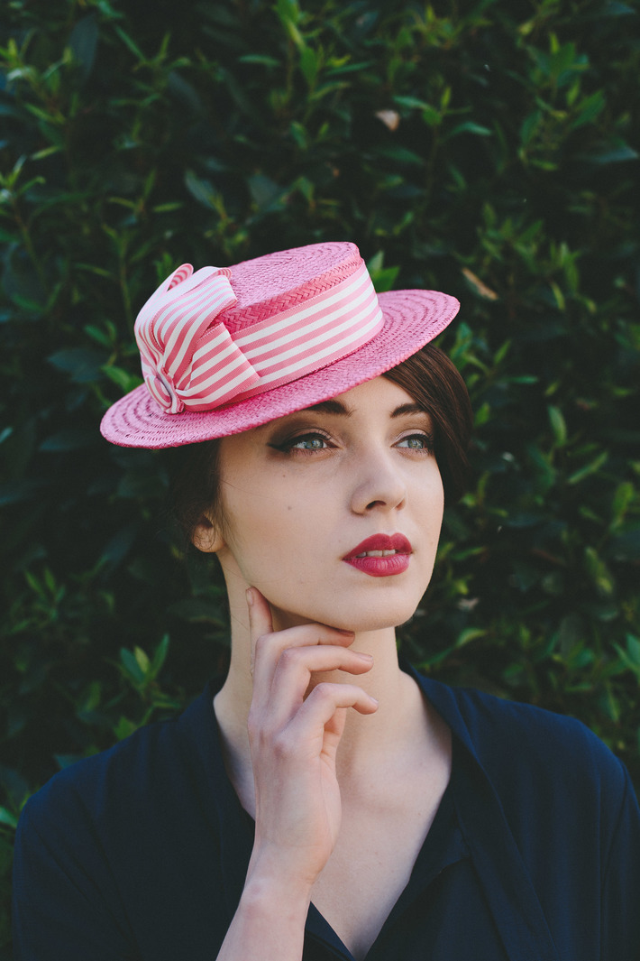 Pink Paper Straw Boater with Candy Stripe Ribbon Trim