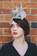Grey Straw Headpiece with Coque Feathers