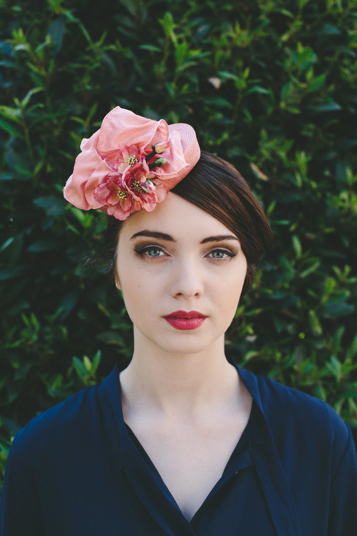 Coral Straw Cocktail Hat with Silk Ribbon and Blossom Flowers