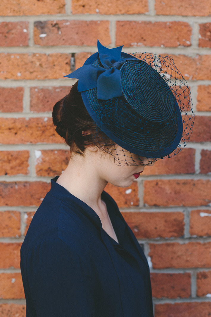 Navy Straw Boater with Veiling