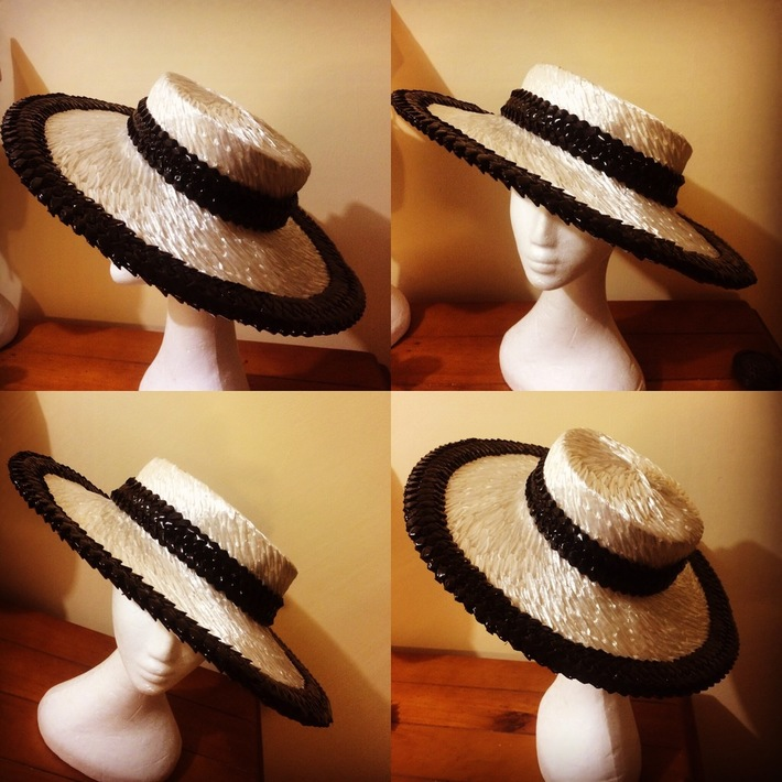 My black and white vintage straw boater