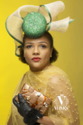Green and gold percher hat