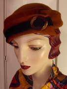 1930's Toque with Vintage Buckle/Ochre