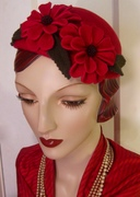 1930's Percher with Sculpted Flowers with Czech Glass Buttons