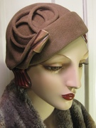 1930's Percher Hat with Vintage Button/ Taupe