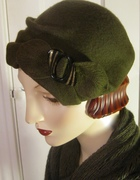1930's Percher Hat with Vintage Buckle/Olive