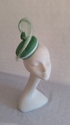 Green and white frayed sinamay pillbox