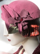 1930's Percher Hat with Czech Glass Button/Burgundy