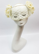 Ivory and gold veil with silk flowers