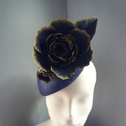 Navy and gold straw peony cocktail hat