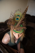 Peacock and pheasant feather statement pillbox hat
