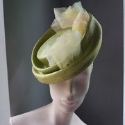Pistachio green parisisal straw with tulle