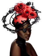 _K9A8087 lace headpiece with floral silk abaca