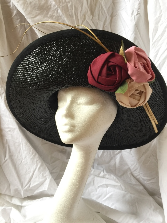 Black straw with couture roses
