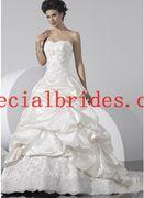Stunning-Ball-Gown-Sweetheart-Embroidery-Ruffle-Taffeta-Wedding-Dress