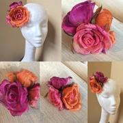 Silk abaca rose hair clip