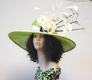 Chartreuse and Ivory Wide Brim Chapeau