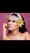 The Peach and Gold Floral Headpiece By Urezkulture
