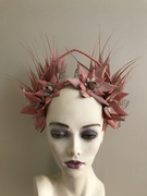 Dusty pink and blush leather halo crown