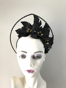 Black leather halo crown