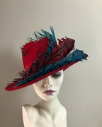 Red felt fedora with Amherst feather trim