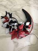Black red and white halo crown