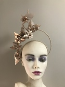 Rose gold and nude leather halo crown