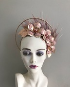 Rose gold and blush leather halo crown