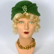 Green Felt Turban Style Hat - Vintage Velour Felt