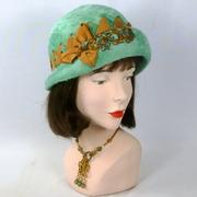Mint and Gold Fur Felt Cloche Hat - Vintage Hood from Austria
