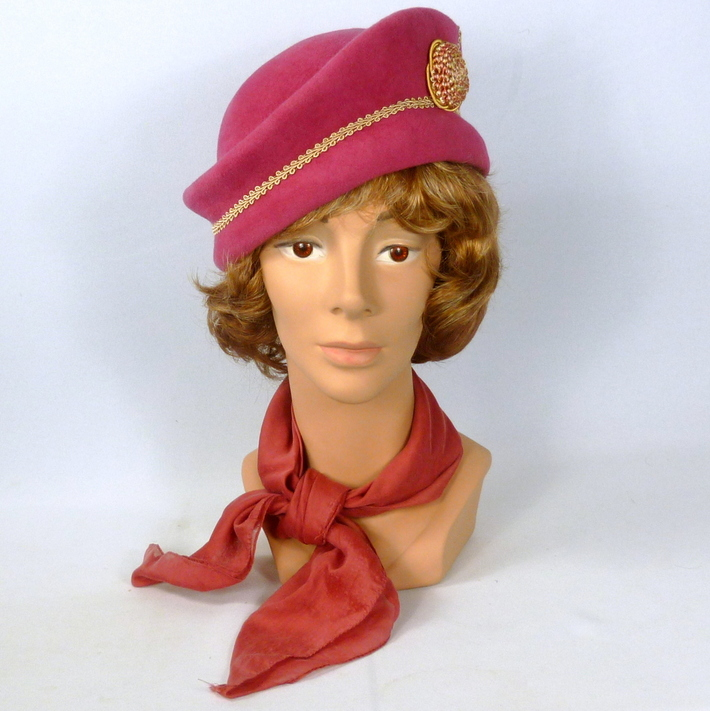 Rose Pink Felt Hat-Vintage Italian Velour Felt