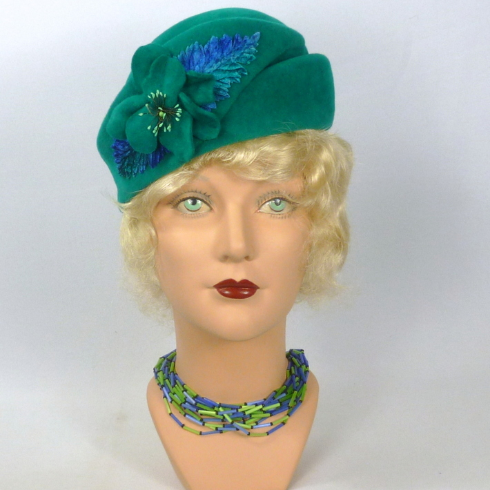 Deep Turquoise/Teal Felt Hat-Vintage Velour Hood