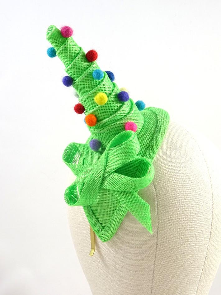 Christmas fascinator green wedding hat